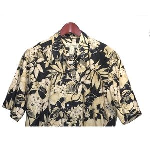 Tori Richard Black Brown Hawaiian Shirt Size M